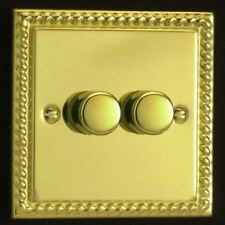 Varilight 2 Gang 1 Way 2x250W Rotary Dimmer Light Switch Georgian Brass