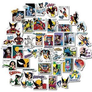 40 Vintage Comic Wolverine Superhero Sticker Lot Vinyl Skateboard Kids Free Ship