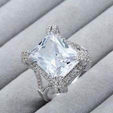 925 Silver Engagement Wedding Ring Gorgeous Princess Cut 26.00Ct White Sapphire
