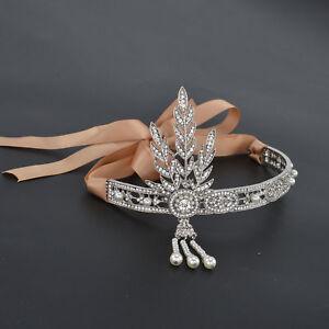 Gatsby 1920's Flapper Crystal Pearl Headpiece Headband Bracelet  Silver Ring Set