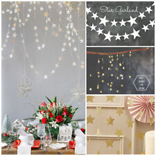 4M Gold Silver Blue Star Wedding Birthday Party Banner Bunting Home Decorations