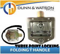 Three Point Locking Recessed Folding T Lock / Handle (3, Drop T, Trailer)
