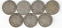 7 X CANADA TWENTY FIVE CENTS QUARTERS KING GEORGE V SILVER COINS 1930-1936
