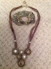 Bonito Collar De Moda Boho Chic Gris Plata Pulsera & Set