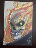 Ghost Rider Original Drawing Signed Artist Tom Hodges W/ COA MINT