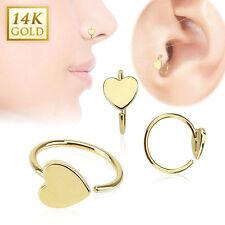 14K Solid Gold HEART Loop HOOP RINGS Stud Nose Ear Tragus Daith Piercing Jewelry