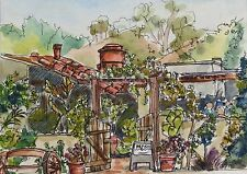 Original watercolor with pen and ink of Old Town, San Diego