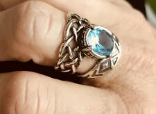 ISRAELI STERLING SILVER OVERSIZED COCKTAIL RING WITH TOPAZ SIZE 6