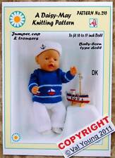 DOLLS KNITTING PATTERN  for BABY BORN or 16/17ins doll No 295 By Val Young