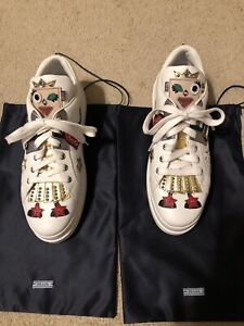 Prada Ladies White Leather Thick Sole Sneakers With Fun Accents Size 39.5 (US 9)