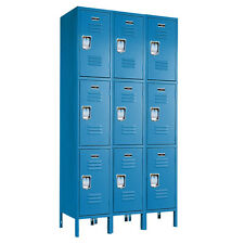 """Blue Triple Stacked Metal Box Lockers 36""""W X 12""""D X 78""""H - 72""""H without legs"""
