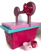 Minnie Mouse Picnic Basket Box Playset Disney Store Pink No Utensil Size 30x16cm