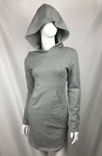 Women's Sz Small Gray Long Sleeve Hooded Front Pocket Athletic Dress