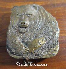 Grizzly Bear with Fish Trout Belt Buckle Bergamot Brass Works Fishing