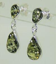 925 Sterling Silver Cabochon Green  Amber Drop Stud Earrings