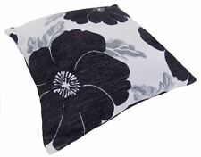 "POPPY BLACK WHITE SILVER CHENILLE THICK CUSHION COVER 22"" - 55CM"