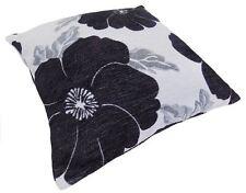 "Poppy Black White Silver Chenille Thick Cushion Cover 22"" - 55cm"