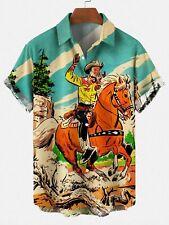 Men's Retro Cowboy Pocket Equestrian Casual Loose Comfortable Shirt Size S-5XL