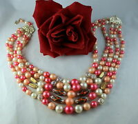 Vintage Japan  5 Strand Pink & Faux Pearl Beaded  Necklace  CAT RESCUE