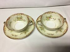 Noritake China Japan Double Handle Tea/Soup Cup & Saucer Set of 2