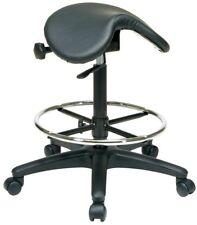 Black Vinyl Drafting Chair Adjustable Swivel Padded Office Seat Backless Stool