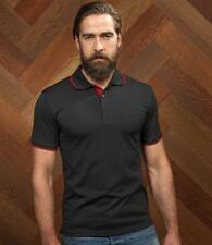 "HENBURY POLYCOTTON POLO SHIRT - BLACK / RED - MEDIUM (38/40"")"