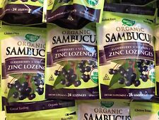 3 Bags (24 ea.) Nature's Way Organic Sambucus Elderberry Vitamin C Zinc Lozenges