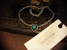 Emerald Green Crystal Heart Bracelet Made with Swarovski Elements. Adjustable