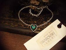 Emerald Green Crystal Heart Bracelet Made with Swarovski Elements. Adjustable