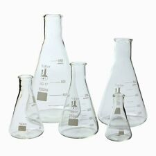 Karter Scientific Glass Erlenmeyer Flask 5 Piece Set Lab Chemistry Glassware