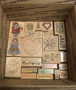 Lot Of Over 130 Wood Mounted Rubber Stamps