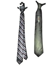 Vintage Lot of 2 Men's Clip On Necktie Wash n Wear Green Gray Stripe
