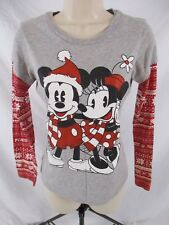 Disney Christmas Juniors S Shirt Mickey Minnie Sparkly Gray Long Sleeve CB60A