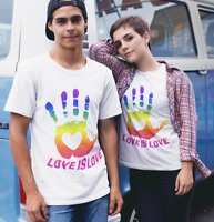 Hand Print Love Gay Pride Rainbow Lesbian LGBT Men Women Unisex T-shirt 582