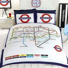 London Underground Tube Carte Double Housse de Couette et Taie D'Oreiller Set