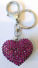 Rhinestone Bling Silver Tone Key Chain Purse Charm Fob Crystal Heart