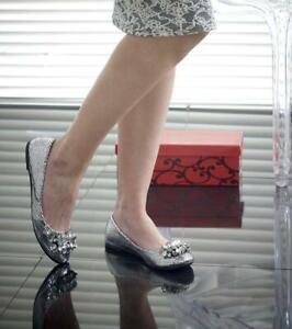 Reptile Flat Ballerina Ladies Rhinestone Metallic Shoe sizes Work Casual Leisure