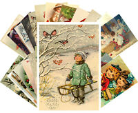 Postcards Pack [24 cards] Vintage Christmas Cute Funny Kids Winter Scene CH4017