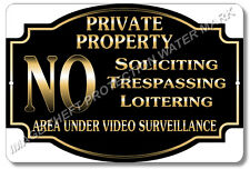 """Private Property No Soliciting No Trespassing Video Surveillance Sign 8""""x12"""" New"""