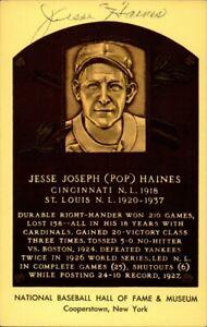 Jesse Haines Signed Baseball HOF Yellow Plaque Autographed Cardinals JSA