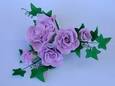 sugar FLOWERS & LEAVES SPRAY cake topper decoration WEDDING christening BRIDE
