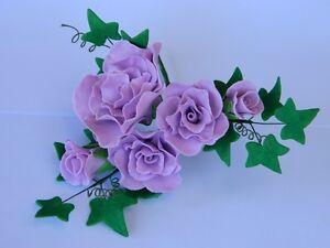 sugar FLOWERS & LEAVES SPRAY cake topper decoration WEDDING christening BRIDE
