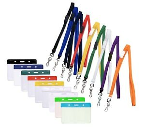 Flexible ID Card Holder Pocket & Neck Strap Lanyard With Metal Clip - Free P&P