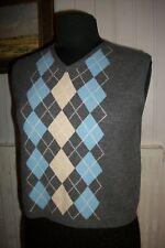 Pull laine angora sans manche débardeur jacquard BURBERRY T.12UK 40FR brodé logo