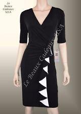 IVANKA TRUMP Women Dress Size 12 BLACK & WHITE Short Sleeve Knee Dressy LBCUSA