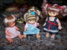 3 Short Small Tiny Vintage Plastic Vinyl Baby Dolls