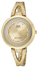 Q&Q by Citizen F529J010Y Crystal Accented Gold Tone Women's Watch ~ GREAT GIFT