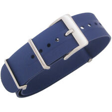 22mm Bonetto Cinturini Italy 328 2-Pc Blue Rubber MoD G10 Dive Watch Band Strap