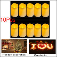 10Pcs Flickering Flameless Pillar LED Candle Lights+Timer For Party Wedding USA