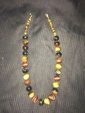 """Jeweler made Red, Blue & Brown Tiger's Eye Bead Gold Necklace 19"""""""